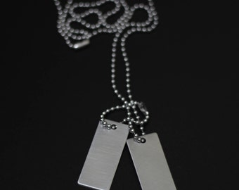 Brushed Stainless Steel Matte Silver Rectangle Square Army Dog Tags with Matching Ball Chain Necklace