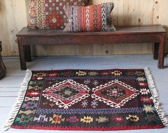 Vintage Anatolian Kilim, Small kilim,Bohemian Style Kilim, Kelim,Colourful Kilim Rug