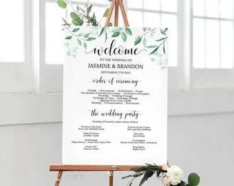 Wedding Program Sign Template, Wedding Program Poster, Wedding Program Template, Wedding Program Printable, Instant Download PDF #E031