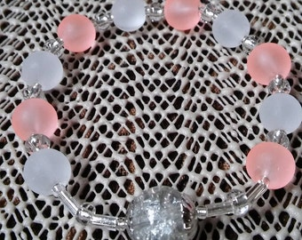 Rosary Stretch Bracelet - Salmon and White Frosted