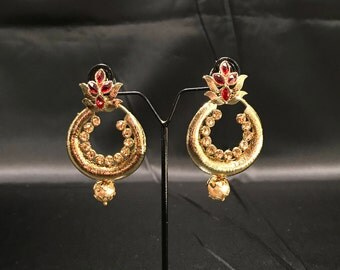 Indian Earrings - Antique Gold Maroon Red Earrings - Pakistani Earrings - Indian Bridal Earrings - Chandbali Earrings - Polki Jewelry - Desi