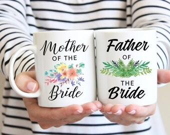 Father of the Bride Gift and Mother of the Bride Gift | Wedding Gifts for Parents | Thank You Gift | Set of 2 Coffee Mugs