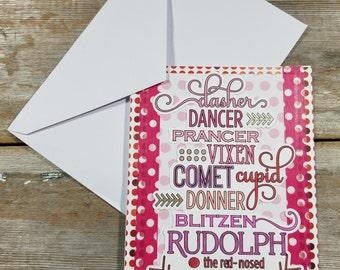 Reindeer Card - Christmas Cards for Friends - Reindeer Names - Polka Dot Card - Colorful Christmas Card - Reindeer Holiday - Pink Card
