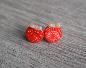 Boucles d'oreilles puce - Rond & Noeud - Pâte polymère - Rouge ou Rose + Blanc