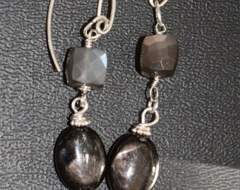Dark Gray Moonstone and Hypersthene Earrings~ Moonstone Earrings~ Handmade Jewelry~ Dangling Earrings Sterling Silver