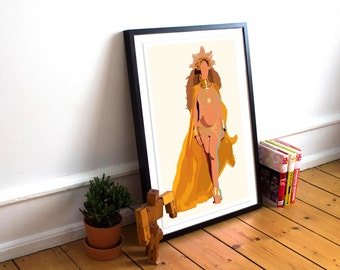 Beyonce Poster - Grammys Performance / Lemonade Print / Minimalist Art / Queen Bey / Music Poster / Beyonce Home Decor / Beyonce Gift