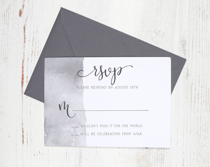 Featured listing image: RSVP Card - Watercolor Wedding Invitation with Handwritten Modern Calligraphy - Customized - Simple - Modern - Rustic