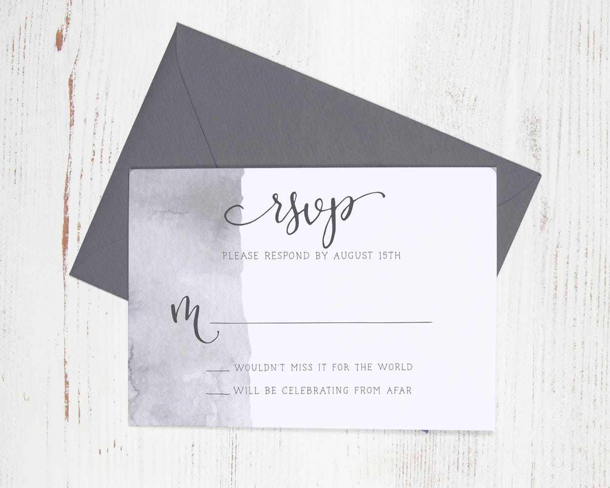 RSVP Card - Watercolor Wedding Invitation with Handwritten Modern ...