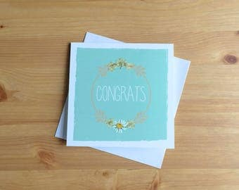 "pressed flower card - ""Congrats"""