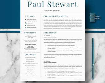 Resume Template for Word & Pages | Professional Resume, CV design, Modern Resume + Cover Letter + Resume Writing guide | Instant Download