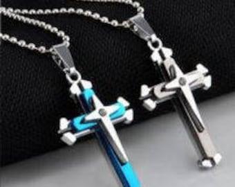 Cross stainless steel blue or black