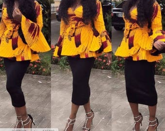 African top with trumpet sleeves/African print peplum tops/African print blouse/African blouse/Ankara blouse/African top/Ankara crop top/