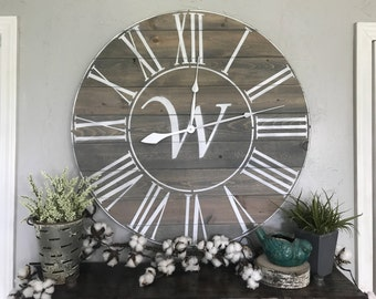 Monogrammed Big Wall Clock Custom Roman Numeral Wall Clock Custom Large Wall Clock Roman Numeral Big Clock Oversized Wall Clock Wooden Clock