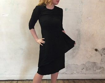 Knee Length 80's Little Black Dress with Frill Detail
