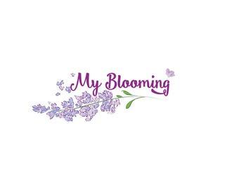 Lavender logo design Custom logo design Premade logo design Floral logo design Flower logo design Hand drawn flowers Ready logo Purple logo