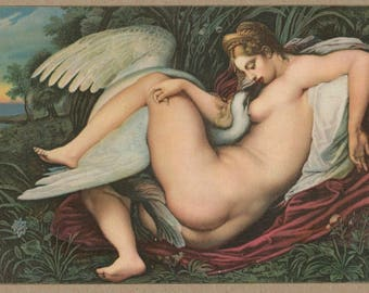 Sensual Swan | Leda and Zeus | Antique Erotic Art Postcard | Michelangelo | Renaissance | 16th Century Painting | Seduction | Greek Myth