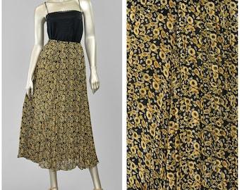 Vintage 90s Skirt, Chiffon Skirt, Floral Maxi Skirt, Boho Skirt, Black Floral Skirt, Broomstick Pleated Skirt, Sunflower Print Long Skirt