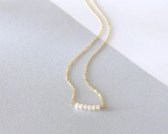 MINI BAR Freshwater Pearl necklace, 14k gold filled, gold, layering necklace, delicate everyday modern, gift for her, by Little Motives
