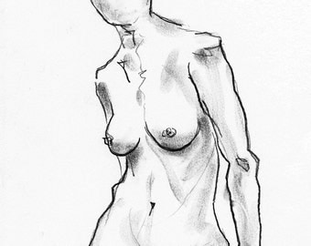 NUDE study - drawing charcoal on paper