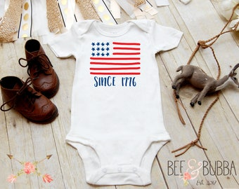 4th of July Onesie®, America Onesie, Since 1776 American Flag Onesie, First 4th of July, Independence Day Shirt, Patriotic Baby Bodysuit