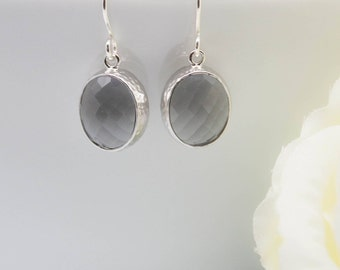 Earrings 925 Silver hammered matte grey