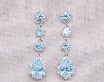 Long earrings silver wedding jewelry wedding Bridal jewelry Bridal