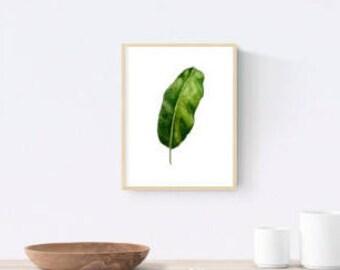 Original Banana leaf watercolor print - tropical wall art decor 4x4 5x5 inch archival giclee print (10X10 12x12cm)