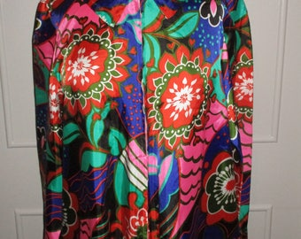 Vintage 1970s Dorian Psychedelic Flower Power Housecoat / Dress