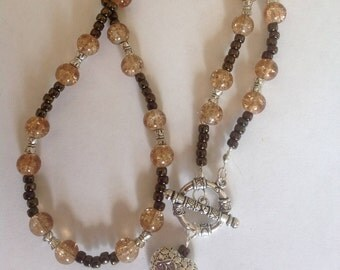 Brown necklace beaded necklace handmade necklace glass beads heart necklace