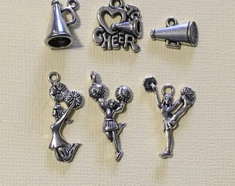 Cheerleader Charm Collection, Set of 6 Silver Charms, Cheerleading, Love to Cheer, Megaphone, Sports, Assorted, Mix, Lot, Theme (CC122)