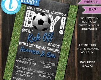 Soccer Baby Shower Invitation Baby Sprinkle Baby Boy Invite Goal Score Sport Chalkboard Template Custom Printable INSTANT Self EDITABLE 5x7