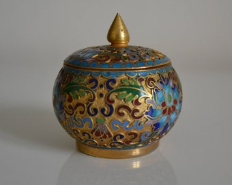 Vintage Small cloisonné Box. China c1950s.