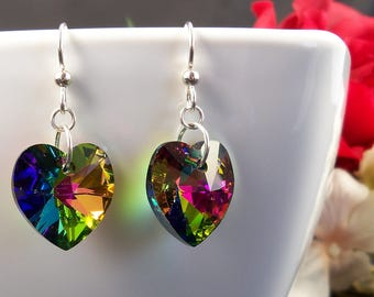 Colorful Crystal Heart Earrings, Sterling Silver Swarovski Earrings, Large Rainbow Prism Jewelry, Vitrail Medium Swarovski