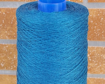 1 lbs (0.5 kg) of 100% LINEN YARN bobbin - made in Northern Europe - dark TURQUOISE color Thread