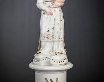 "14"" Antique Madonna w Child Jesus Vieux Old Paris Porcelain Statue Virgin Mary with Baby Christ Figure 3"