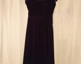 1940s Velvet and Lace Dress