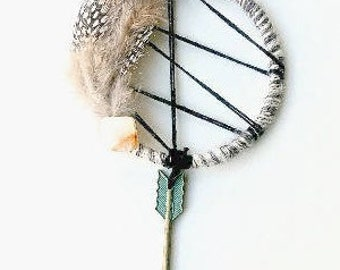 Boho Dream Catcher, Boho Wall Hanging, Rustic Home Decor, Reiki Healing, Native American Made, Healing Crystal Decor, Crystal Gift, Travel