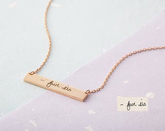 Bar Necklace with Actual Handwriting - Custom Handwriting Necklace - Memorial Handwriting Bar Necklace - Personalized Jewelry