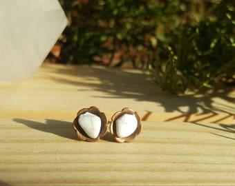 SNOW - White Howlite Gemstone Studs, Howlite Gemstone Earrings, Grounding Crystals, Gemstone Gifts Under 20, Gemstone Lover Nature Earrings