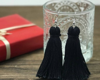Girls Tassel Earring, Girls Earrings, Kids Earrings, Kid Earrings, Childrens Earrings, Girl Tassel Earrings, Black Tassel Earrings