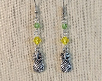 Silver Pineapple Yellow & Green Crystal Earrings