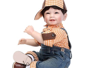 """American Toddler Doll Reborn Baby Boy """"CHARLIE"""" by NPK 22 Inch Soft Vinyl Life Like Educational Collectible/Toy/Gift"""