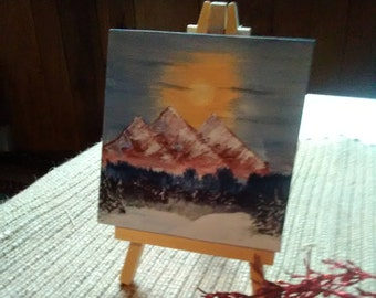 Mountain painting mini canvas and easel