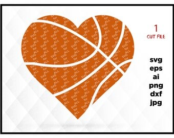 Basketball heart monogram SVG instant download design for cricut or silhouette, dxf, png, eps, ai jpg files