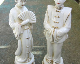 Two porcelain figurines - a Chinese couple, from 1940-s, probably made in Japan