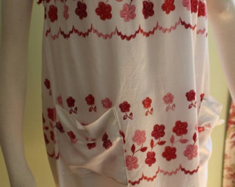 "Size Medium,Sweet summer shift dress, vintage 1960's, red embroidered flowers!  34-36"" bust"