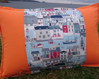 Harbourside Cushion, oblong, seaside, orange, bright, handmade, cornwall, children, boats, coastal