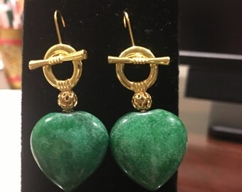 Heart Green Jade Earrings by Dobka