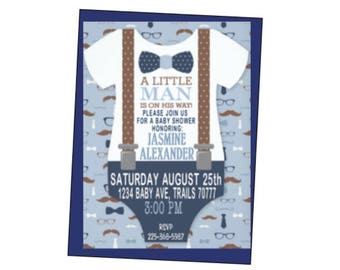 Baby Shower Suspenders Onesie Invitation