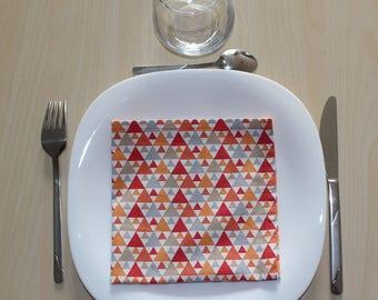 Napkin pattern geometique - 34 x 34 cm - orange, red, grey, beige